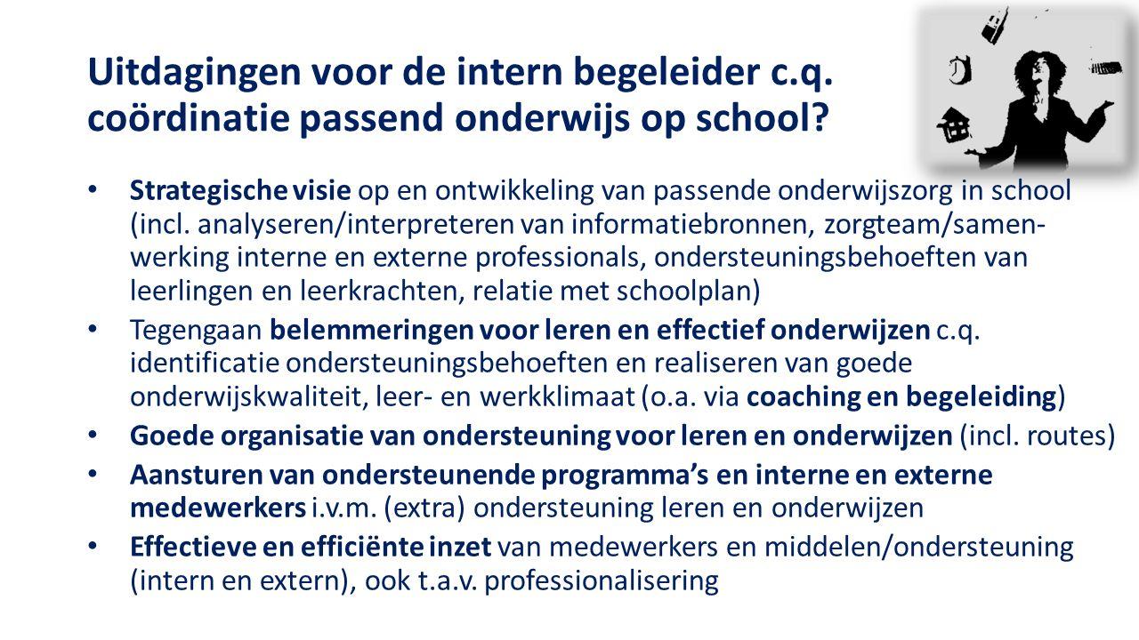 Uitdagingen voor de intern begeleider c.q. coördinatie passend onderwijs op school.