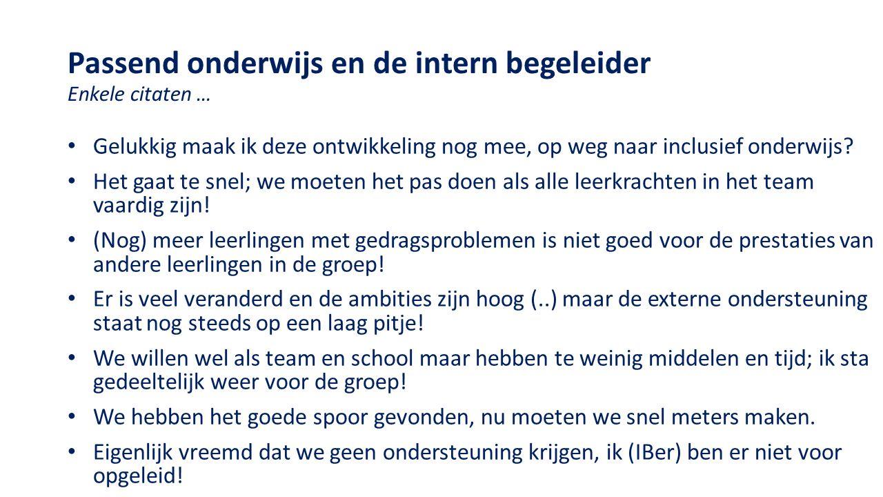Taken en werkzaamheden interne begeleiding (Van der Steenhoven & Van Veen, 2015) Beroepsstandaard voor de IBer ( LBIB 2015) 1.Begeleidende en coachende taken 2.Taken ten aanzien van onderzoek 3.Beheersmatige taken 4.Organisatorische taken 5.Innoverende taken 6.Samenwerken met externen 7.Voortgaande beroepsontwikkeling Top 3 tijdsbesteding 1.Beheer en administratie 2.De organisatie van de ondersteuningsstructuur op school 3.Begeleiding en coaching van leerkrachten Beduidend minder tijd aan overige werkzaamheden besteed.