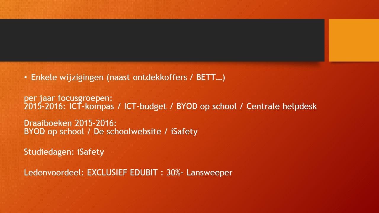 Enkele wijzigingen (naast ontdekkoffers / BETT…) per jaar focusgroepen: 2015-2016: ICT-kompas / ICT-budget / BYOD op school / Centrale helpdesk Draaiboeken 2015-2016: BYOD op school / De schoolwebsite / iSafety Studiedagen: iSafety Ledenvoordeel: EXCLUSIEF EDUBIT : 30%- Lansweeper