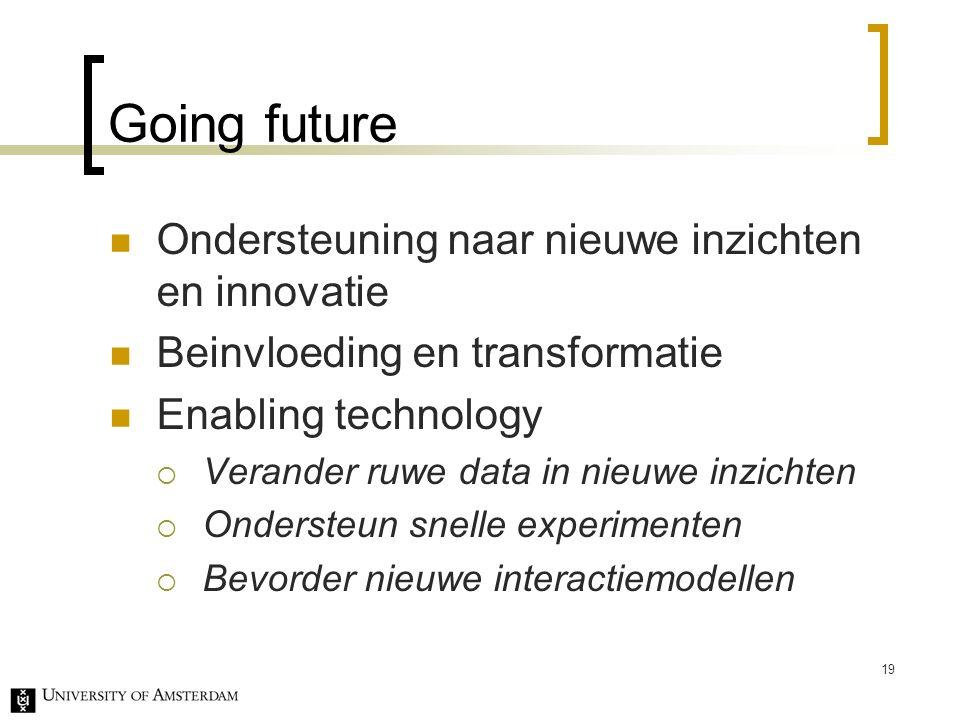 Going future Ondersteuning naar nieuwe inzichten en innovatie Beinvloeding en transformatie Enabling technology  Verander ruwe data in nieuwe inzichten  Ondersteun snelle experimenten  Bevorder nieuwe interactiemodellen 19