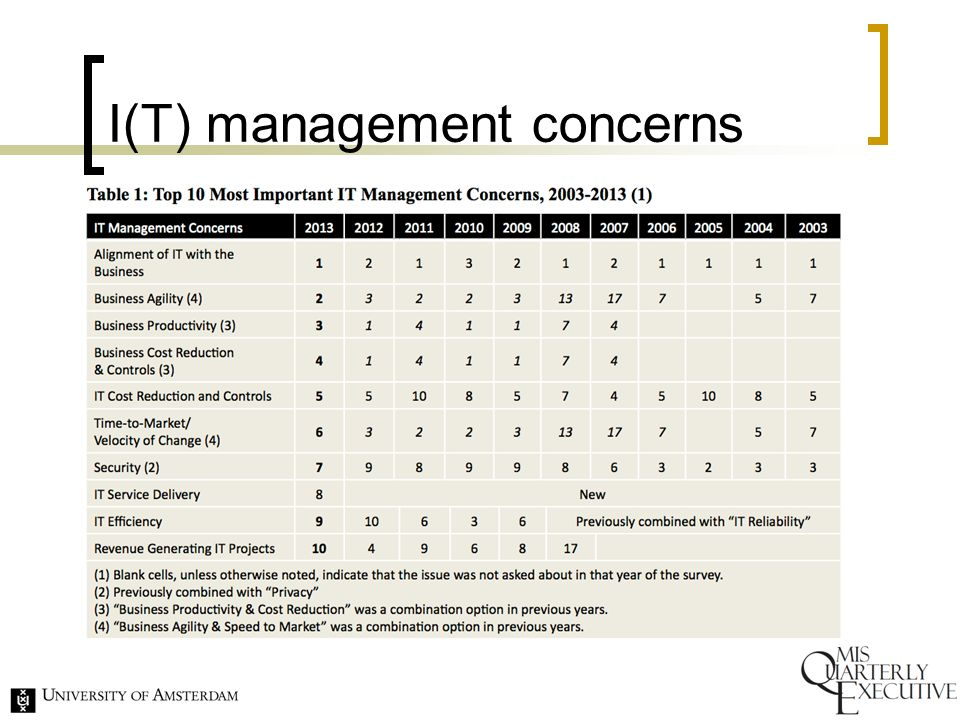 I(T) management concerns