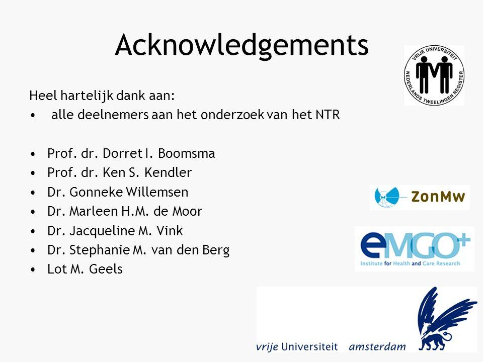 Acknowledgements Heel hartelijk dank aan: alle deelnemers aan het onderzoek van het NTR Prof.