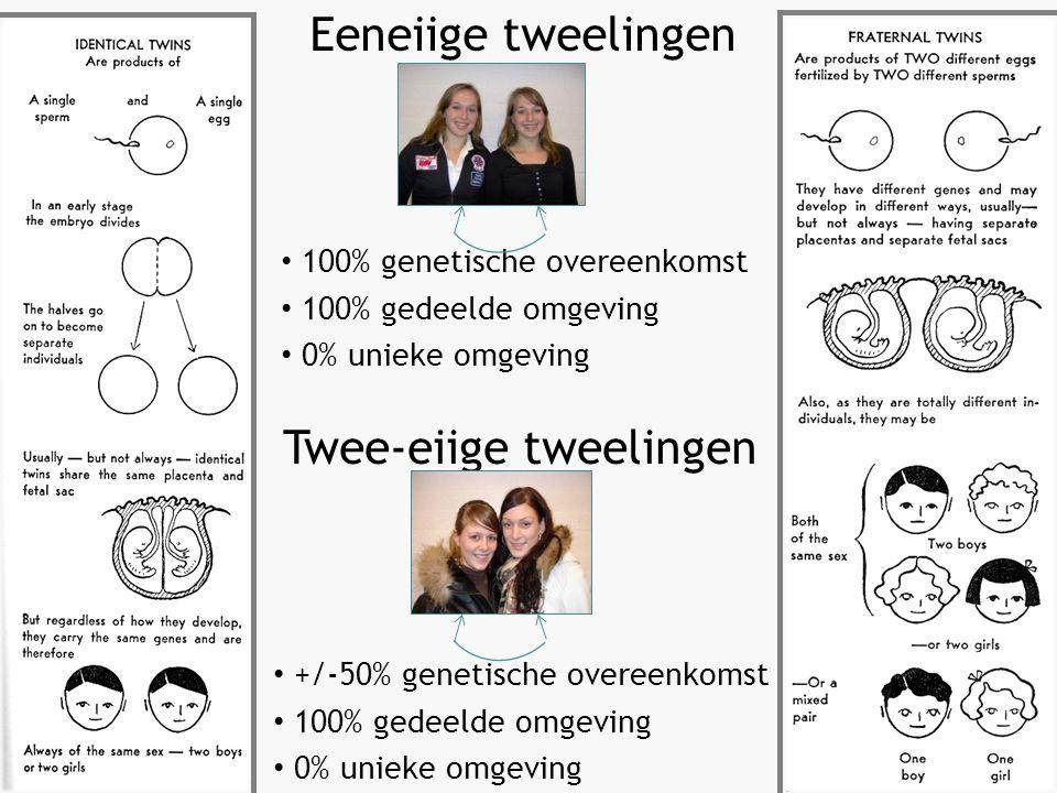 100% genetische overeenkomst 100% gedeelde omgeving 0% unieke omgeving Eeneiige tweelingen +/-50% genetische overeenkomst 100% gedeelde omgeving 0% unieke omgeving Twee-eiige tweelingen