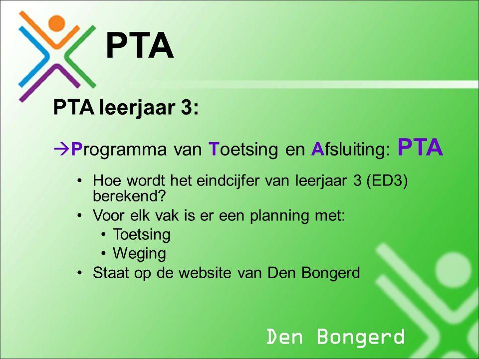 PTA PTA leerjaar 3:  Programma van Toetsing en Afsluiting: PTA Hoe wordt het eindcijfer van leerjaar 3 (ED3) berekend? Voor elk vak is er een plannin