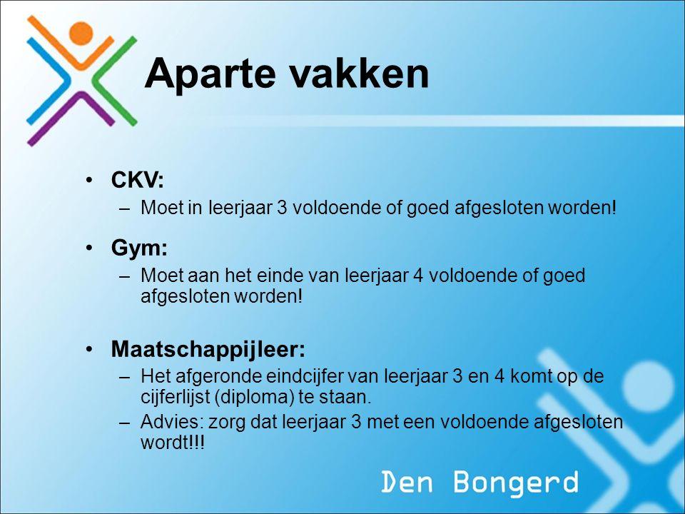 Aparte vakken CKV: –Moet in leerjaar 3 voldoende of goed afgesloten worden.