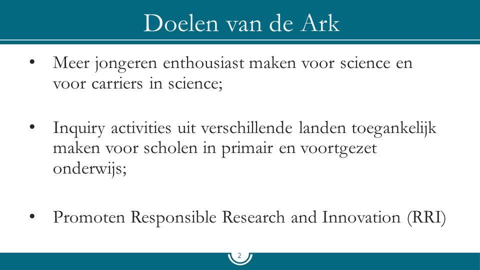 Doelen van de Ark Meer jongeren enthousiast maken voor science en voor carriers in science; Inquiry activities uit verschillende landen toegankelijk maken voor scholen in primair en voortgezet onderwijs; Promoten Responsible Research and Innovation (RRI) 2