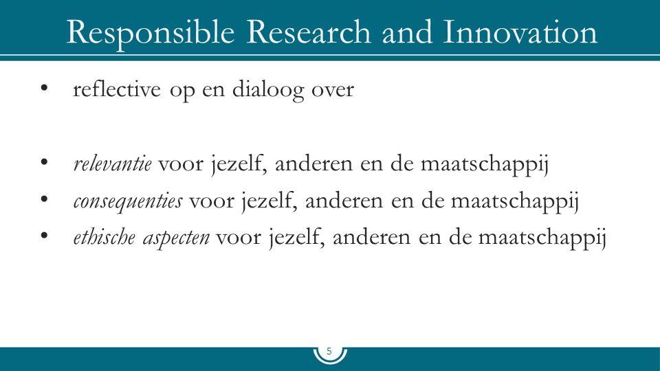 Responsible Research and Innovation reflective op en dialoog over relevantie voor jezelf, anderen en de maatschappij consequenties voor jezelf, andere