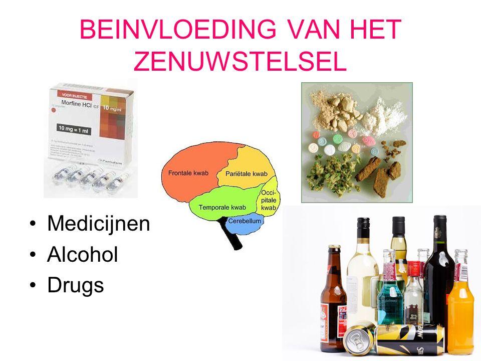 BEINVLOEDING VAN HET ZENUWSTELSEL Medicijnen Alcohol Drugs