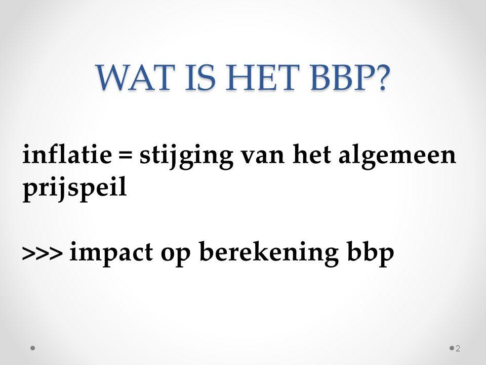 WAT IS HET BBP? 2 benaderingen: nominaal bbp = inclusief inflatie reëel bbp = exclusief inflatie 3