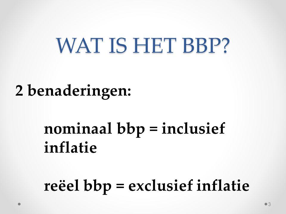 WAT IS HET BBP 2 benaderingen: nominaal bbp = inclusief inflatie reëel bbp = exclusief inflatie 3