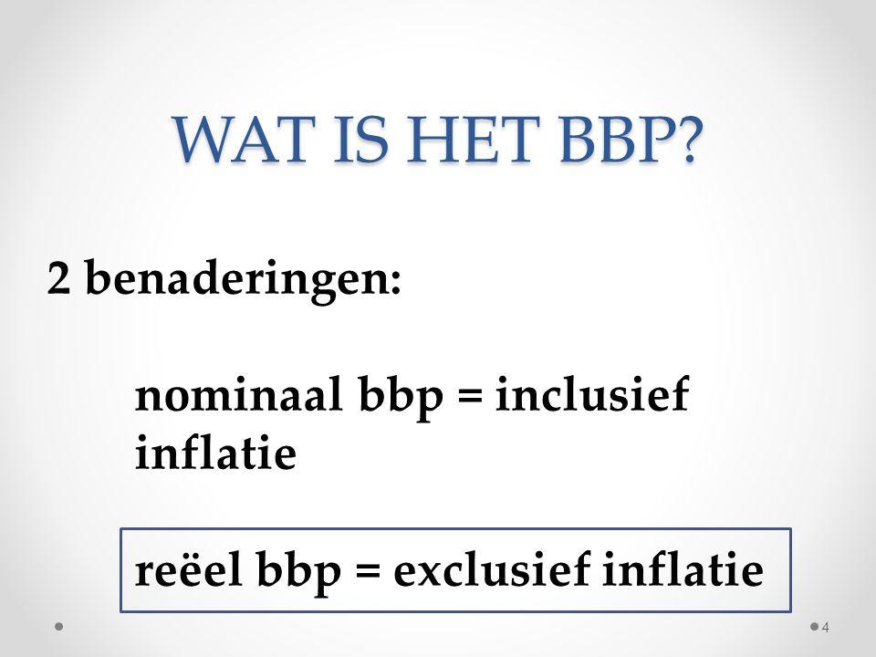 WAT IS HET BBP 2 benaderingen: nominaal bbp = inclusief inflatie reëel bbp = exclusief inflatie 4