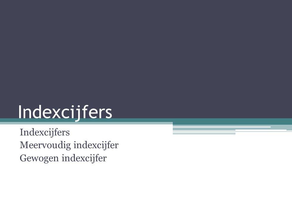 Indexcijfers Meervoudig indexcijfer Gewogen indexcijfer