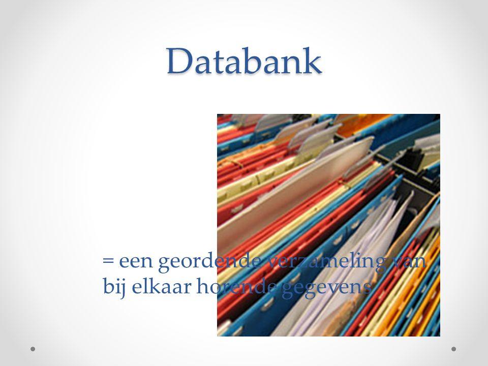 Databank = een geordende verzameling van bij elkaar horende gegevens