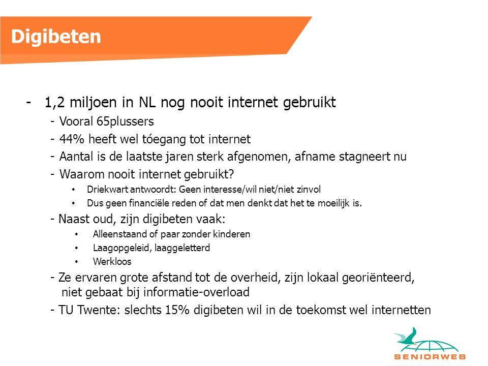 Digibeten -1,2 miljoen in NL nog nooit internet gebruikt -Vooral 65plussers -44% heeft wel tóegang tot internet -Aantal is de laatste jaren sterk afgenomen, afname stagneert nu -Waarom nooit internet gebruikt.