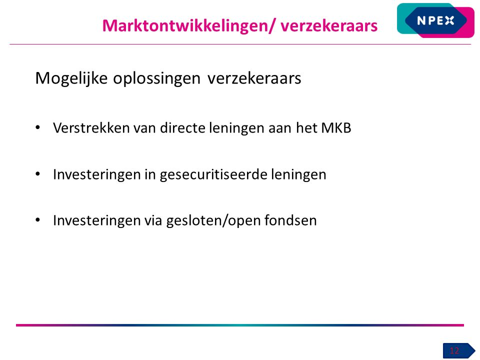 Marktontwikkelingen/ verzekeraars 12 Mogelijke oplossingen verzekeraars Verstrekken van directe leningen aan het MKB Investeringen in gesecuritiseerde leningen Investeringen via gesloten/open fondsen