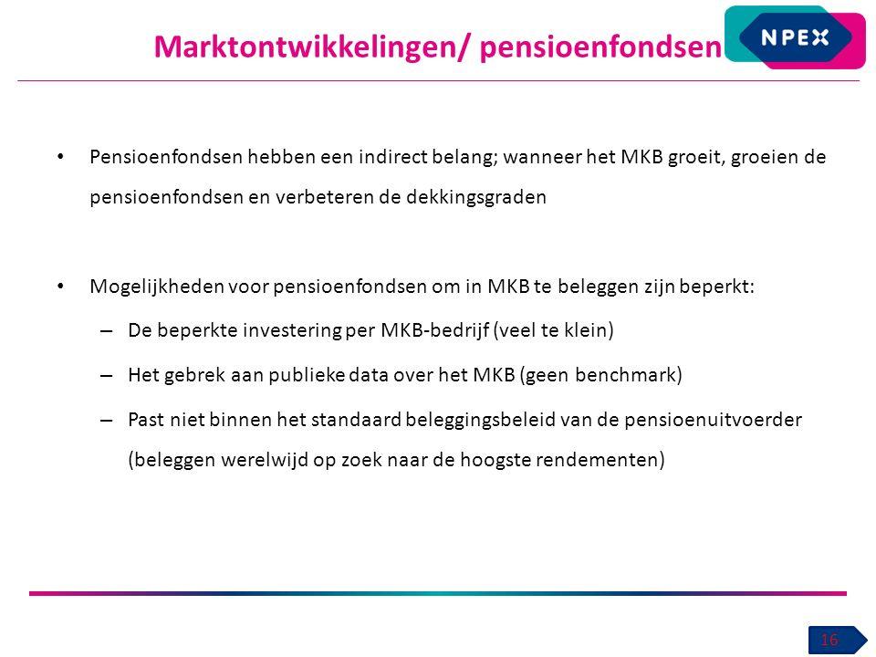 Marktontwikkelingen/ pensioenfondsen 16 Pensioenfondsen hebben een indirect belang; wanneer het MKB groeit, groeien de pensioenfondsen en verbeteren de dekkingsgraden Mogelijkheden voor pensioenfondsen om in MKB te beleggen zijn beperkt: – De beperkte investering per MKB-bedrijf (veel te klein) – Het gebrek aan publieke data over het MKB (geen benchmark) – Past niet binnen het standaard beleggingsbeleid van de pensioenuitvoerder (beleggen werelwijd op zoek naar de hoogste rendementen)