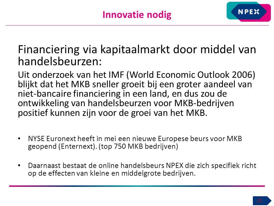Innovatie nodig 21 Financiering via kapitaalmarkt door middel van handelsbeurzen: Uit onderzoek van het IMF (World Economic Outlook 2006) blijkt dat het MKB sneller groeit bij een groter aandeel van niet-bancaire financiering in een land, en dus zou de ontwikkeling van handelsbeurzen voor MKB-bedrijven positief kunnen zijn voor de groei van het MKB.