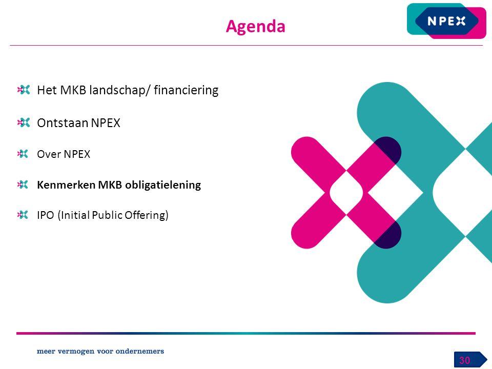 Het MKB landschap/ financiering Ontstaan NPEX Over NPEX Kenmerken MKB obligatielening IPO (Initial Public Offering) Agenda 30