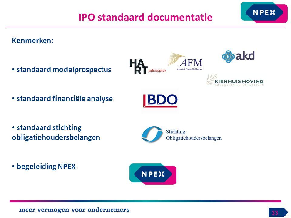 IPO standaard documentatie 33 Kenmerken: standaard modelprospectus standaard financiële analyse standaard stichting obligatiehoudersbelangen begeleiding NPEX