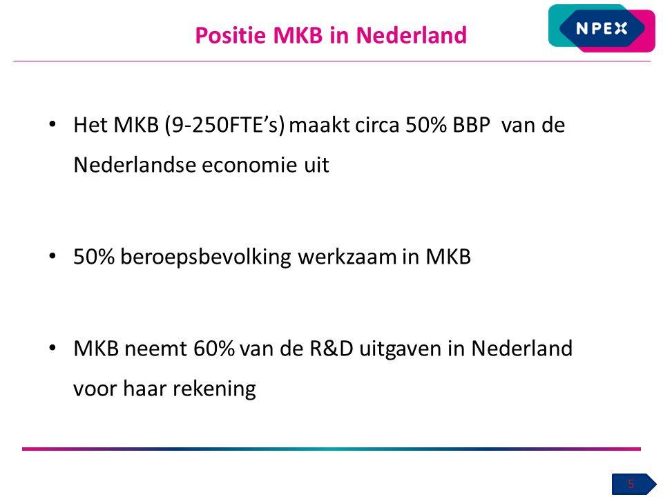Positie MKB in Nederland 5 Het MKB (9-250FTE's) maakt circa 50% BBP van de Nederlandse economie uit 50% beroepsbevolking werkzaam in MKB MKB neemt 60% van de R&D uitgaven in Nederland voor haar rekening
