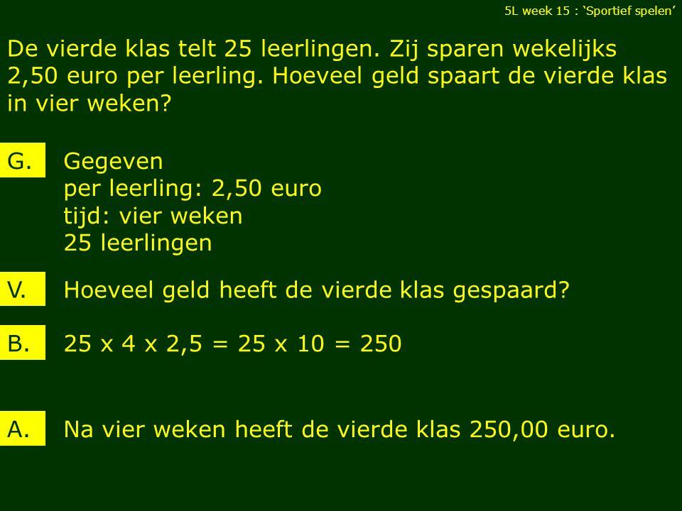 Gegeven kapitaal: 250,00 euro tijd: één jaar intrest: 3 % 5L week 15 : 'Sportief spelen' V.