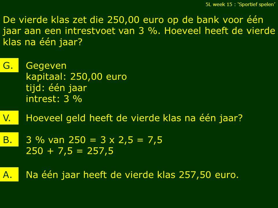5L week 15 : 'Sportief spelen' 285 euro 15 euro per maand nog 8 maanden G.