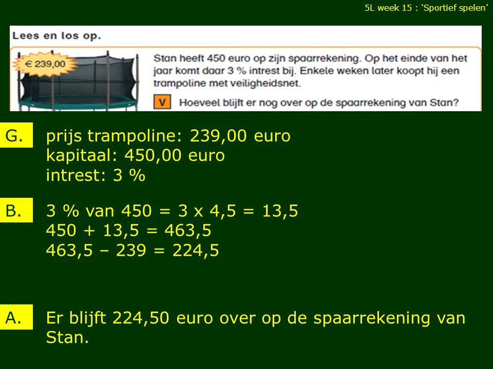 5L week 15 : 'Sportief spelen' prijs: 207,00 euro krijgt één derde van zijn ouders 78,00 euro gespaard maandelijks 15,00 euro G.