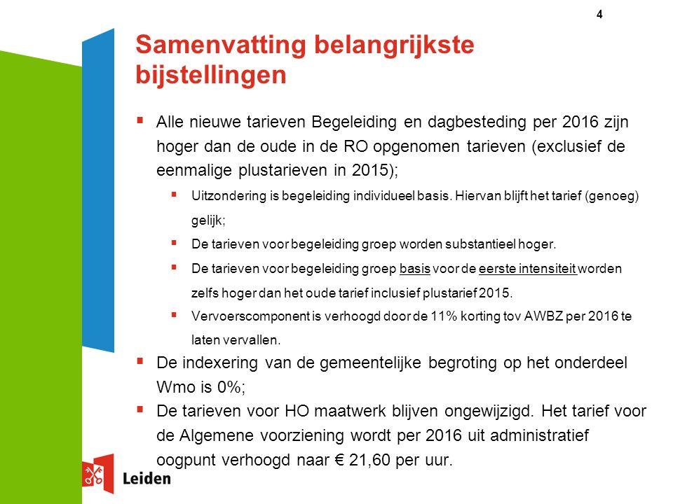 Samenvatting belangrijkste bijstellingen  Alle nieuwe tarieven Begeleiding en dagbesteding per 2016 zijn hoger dan de oude in de RO opgenomen tarieven (exclusief de eenmalige plustarieven in 2015);  Uitzondering is begeleiding individueel basis.