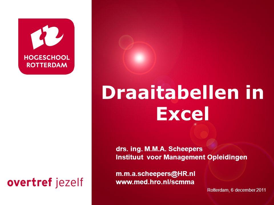 Presentatie titel Rotterdam, 00 januari 2007 Draaitabellen in Excel Rotterdam, 6 december 2011 drs. ing. M.M.A. Scheepers Instituut voor Management Op