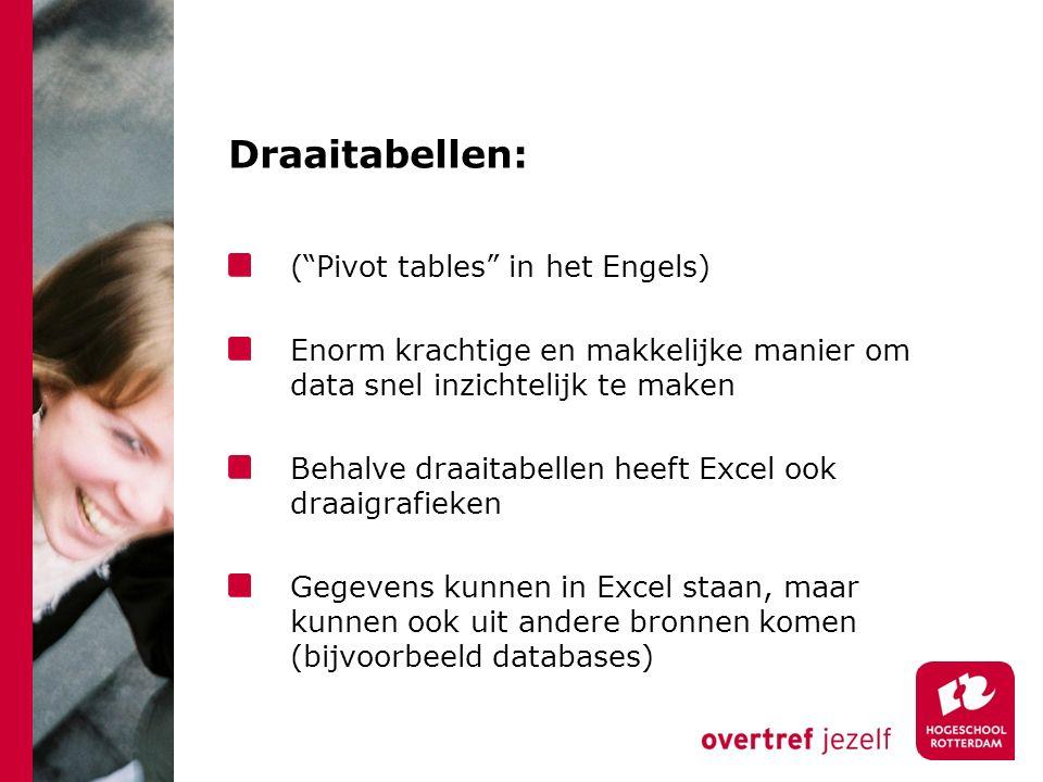 Draaitabellen: ( Pivot tables in het Engels) Enorm krachtige en makkelijke manier om data snel inzichtelijk te maken Behalve draaitabellen heeft Excel ook draaigrafieken Gegevens kunnen in Excel staan, maar kunnen ook uit andere bronnen komen (bijvoorbeeld databases)