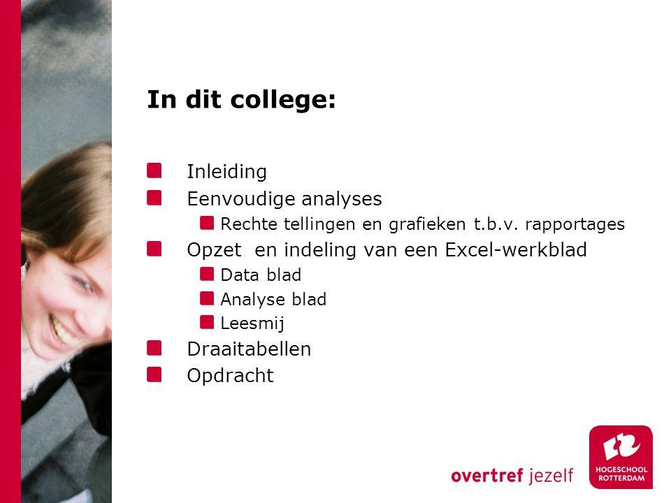 In dit college: Inleiding Eenvoudige analyses Rechte tellingen en grafieken t.b.v. rapportages Opzet en indeling van een Excel-werkblad Data blad Anal