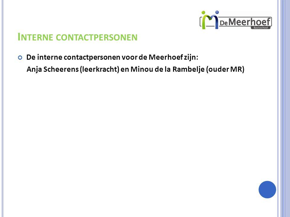 I NTERNE CONTACTPERSONEN De interne contactpersonen voor de Meerhoef zijn: Anja Scheerens (leerkracht) en Minou de la Rambelje (ouder MR)