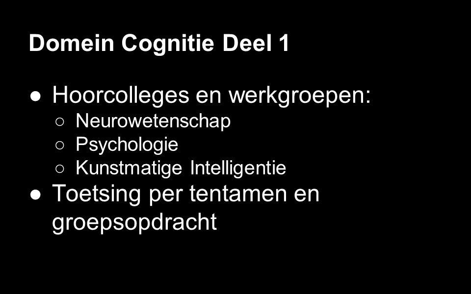 Domein Cognitie Deel 1 ●Psychologie en neurowetenschap ●Uiteenlopende thema s