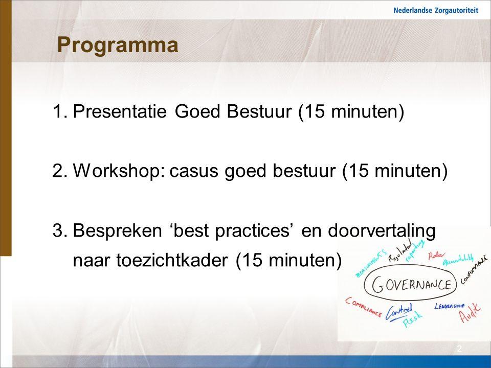 Programma 1.Presentatie Goed Bestuur (15 minuten) 2.Workshop: casus goed bestuur (15 minuten) 3.Bespreken 'best practices' en doorvertaling naar toezichtkader (15 minuten) 2