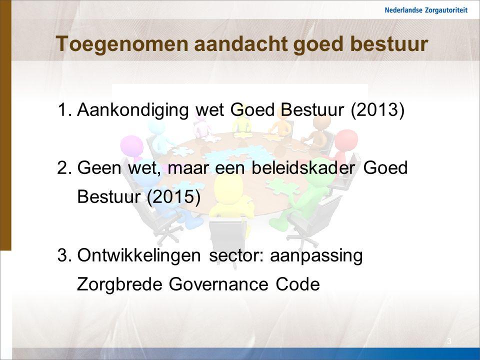 Toegenomen aandacht goed bestuur 1.Aankondiging wet Goed Bestuur (2013) 2.Geen wet, maar een beleidskader Goed Bestuur (2015) 3.Ontwikkelingen sector: aanpassing Zorgbrede Governance Code 3