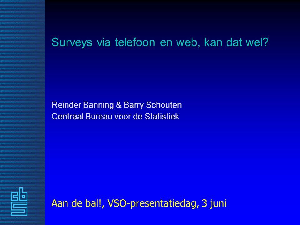 Surveyfouten - onderdekking Gemeten percentages dekking respons GEZO 2009 Kwaliteit van logistische regressie-modellen: Telefoon: 18 – 20% Internet: 45 – 49% Telefoon en/of internet: 25 – 27% Een mixed-mode onderzoek dat aan-huis en/of papier inzet heeft 100% dekking.