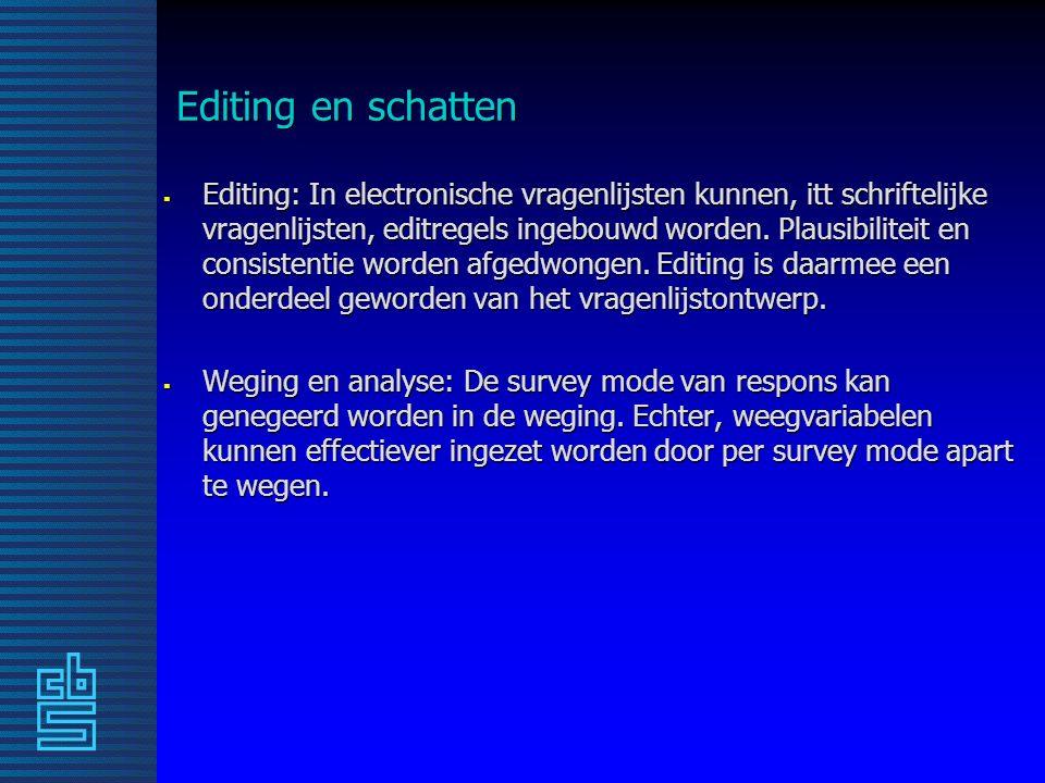 Editing en schatten  Editing: In electronische vragenlijsten kunnen, itt schriftelijke vragenlijsten, editregels ingebouwd worden.