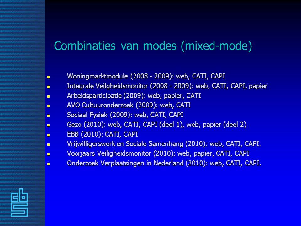 Combinaties van modes (mixed-mode) n Woningmarktmodule (2008 - 2009): web, CATI, CAPI n Integrale Veilgheidsmonitor (2008 - 2009): web, CATI, CAPI, papier n Arbeidsparticipatie (2009): web, papier, CATI n AVO Cultuuronderzoek (2009): web, CATI n Sociaal Fysiek (2009): web, CATI, CAPI n Gezo (2010): web, CATI, CAPI (deel 1), web, papier (deel 2) n EBB (2010): CATI, CAPI n Vrijwilligerswerk en Sociale Samenhang (2010): web, CATI, CAPI.