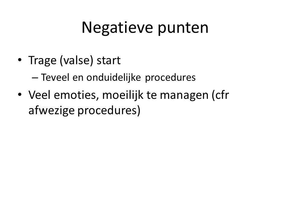 Negatieve punten Trage (valse) start – Teveel en onduidelijke procedures Veel emoties, moeilijk te managen (cfr afwezige procedures)