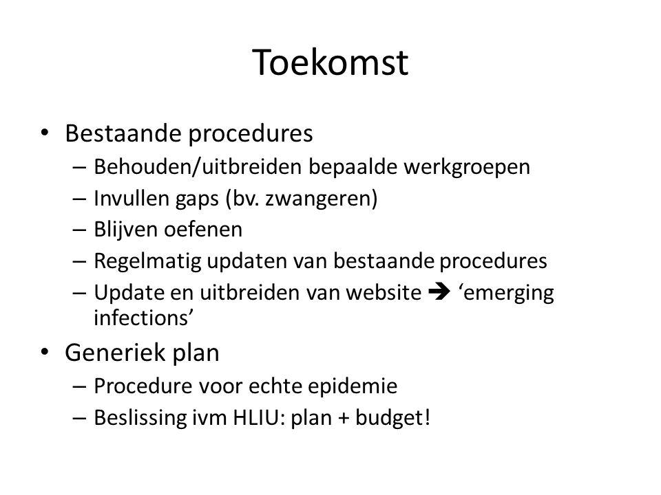 Toekomst Bestaande procedures – Behouden/uitbreiden bepaalde werkgroepen – Invullen gaps (bv. zwangeren) – Blijven oefenen – Regelmatig updaten van be