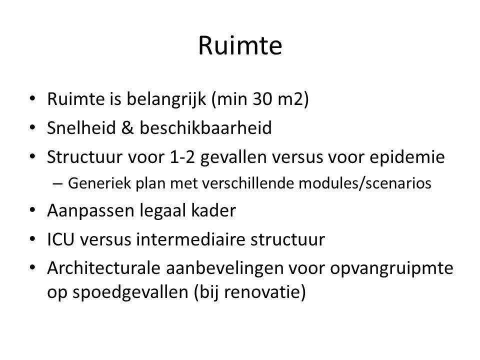 Ruimte Ruimte is belangrijk (min 30 m2) Snelheid & beschikbaarheid Structuur voor 1-2 gevallen versus voor epidemie – Generiek plan met verschillende