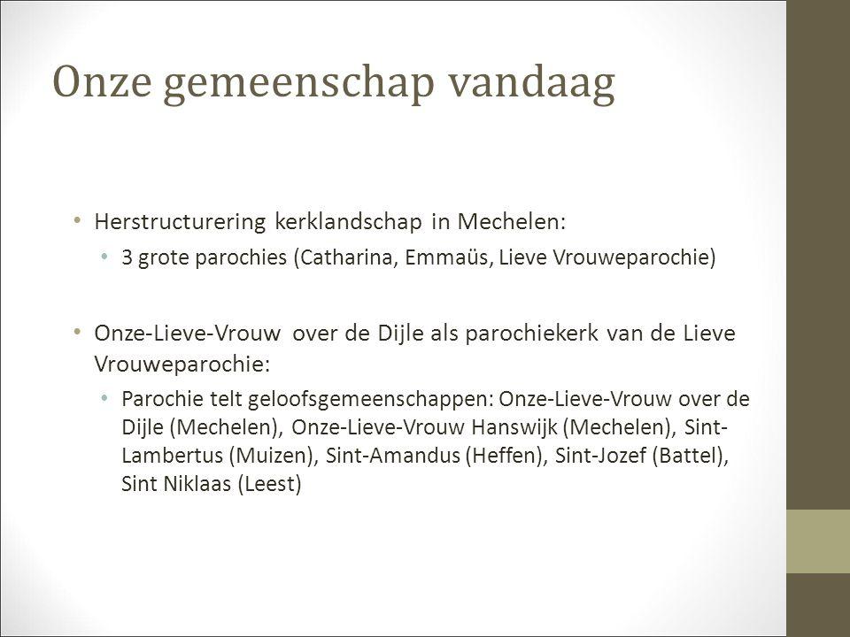 Onze gemeenschap vandaag Herstructurering kerklandschap in Mechelen: 3 grote parochies (Catharina, Emmaüs, Lieve Vrouweparochie) Onze-Lieve-Vrouw over de Dijle als parochiekerk van de Lieve Vrouweparochie: Parochie telt geloofsgemeenschappen: Onze-Lieve-Vrouw over de Dijle (Mechelen), Onze-Lieve-Vrouw Hanswijk (Mechelen), Sint- Lambertus (Muizen), Sint-Amandus (Heffen), Sint-Jozef (Battel), Sint Niklaas (Leest)