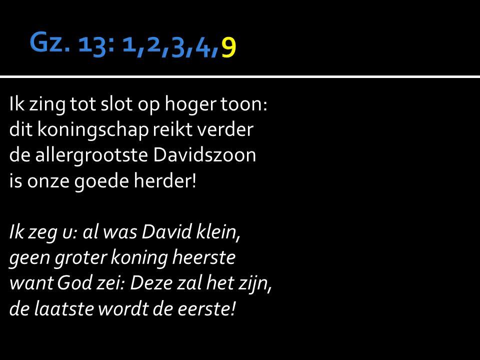 Ik zing tot slot op hoger toon: dit koningschap reikt verder de allergrootste Davidszoon is onze goede herder.