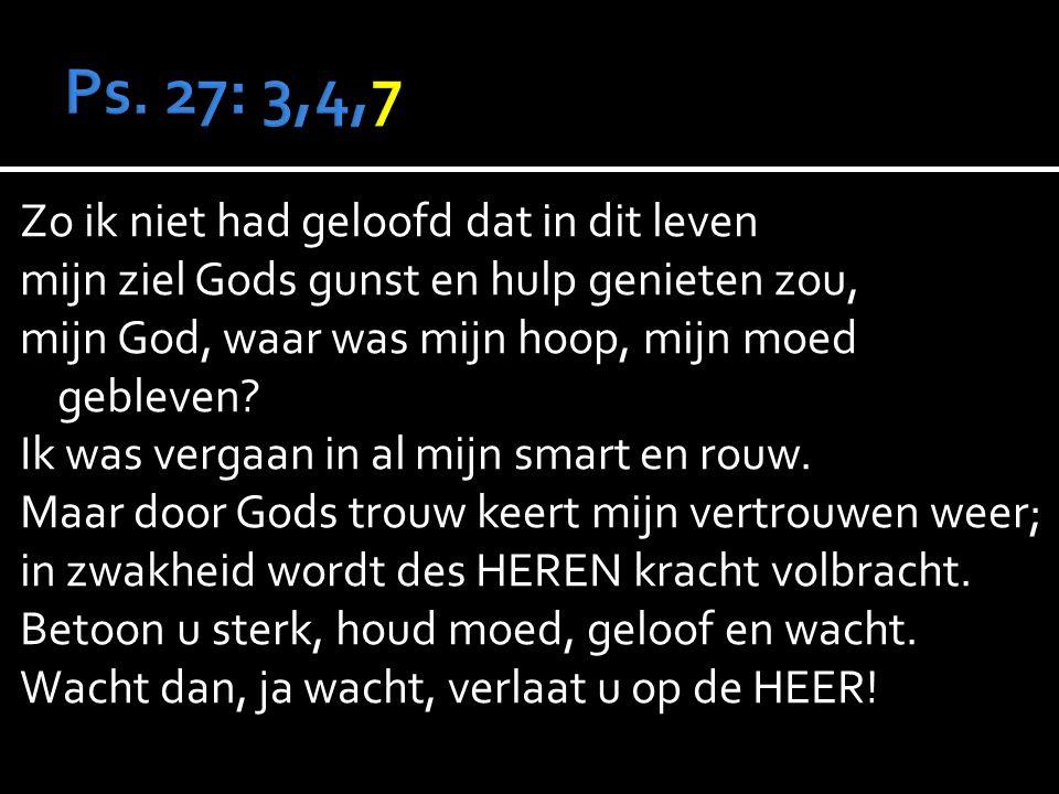 Zo ik niet had geloofd dat in dit leven mijn ziel Gods gunst en hulp genieten zou, mijn God, waar was mijn hoop, mijn moed gebleven.