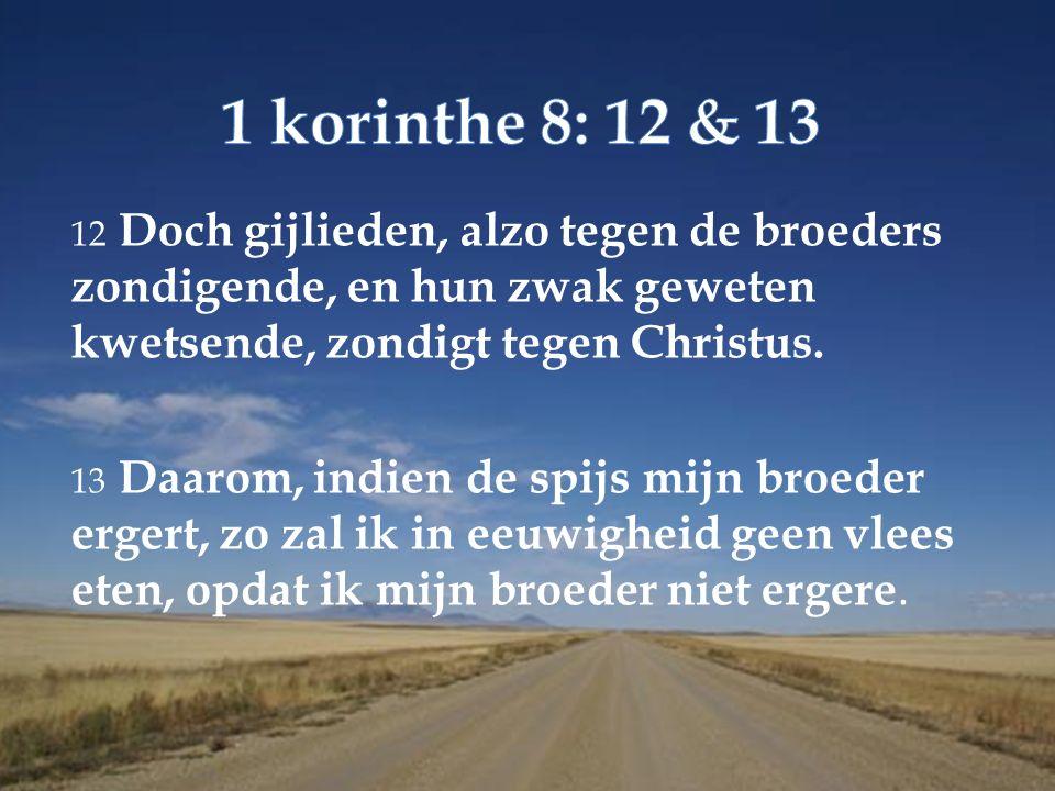 12 Doch gijlieden, alzo tegen de broeders zondigende, en hun zwak geweten kwetsende, zondigt tegen Christus.