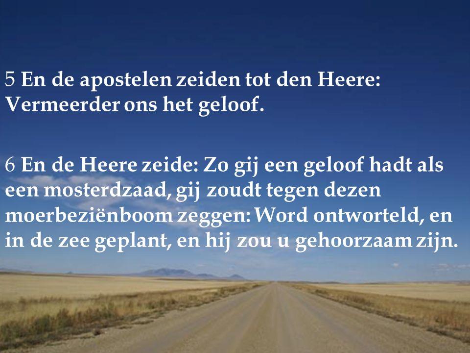 5 En de apostelen zeiden tot den Heere: Vermeerder ons het geloof.