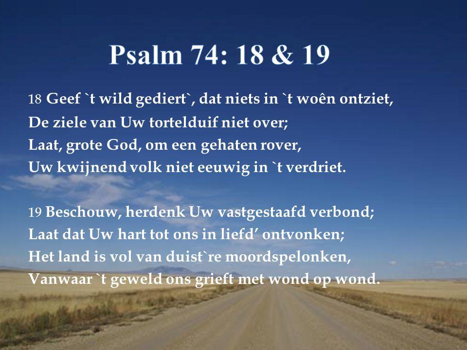 18 Geef `t wild gediert`, dat niets in `t woên ontziet, De ziele van Uw tortelduif niet over; Laat, grote God, om een gehaten rover, Uw kwijnend volk niet eeuwig in `t verdriet.