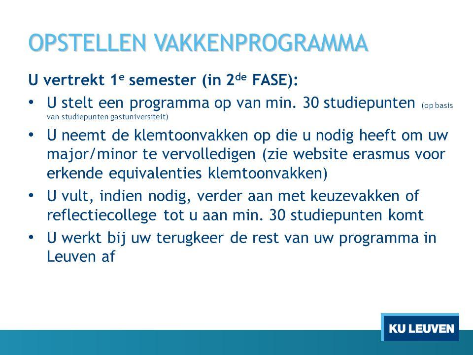 OPSTELLEN VAKKENPROGRAMMA U vertrekt 1 e semester (in 2 de FASE): U stelt een programma op van min. 30 studiepunten (op basis van studiepunten gastuni