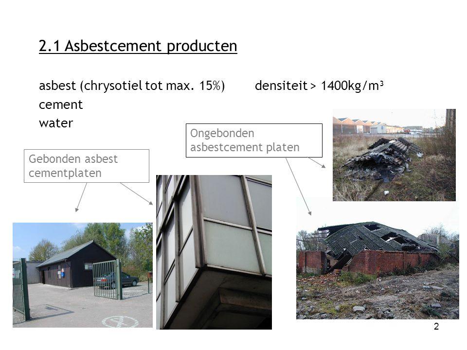 2 2.1 Asbestcement producten asbest (chrysotiel tot max. 15%)densiteit > 1400kg/m³ cement water Gebonden asbest cementplaten Ongebonden asbestcement p
