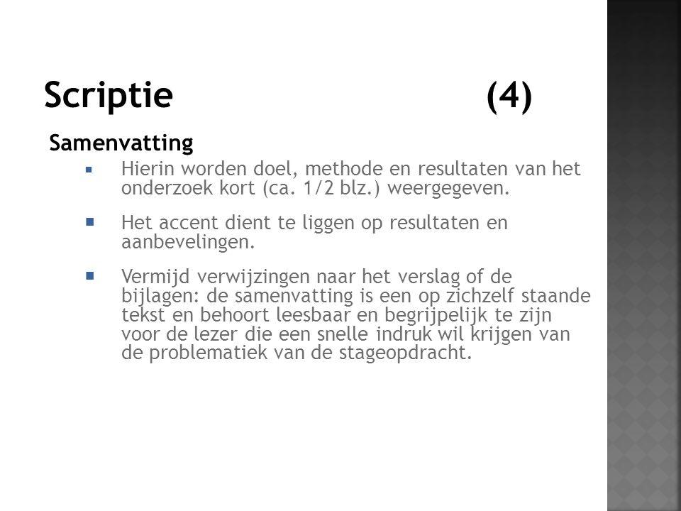 Samenvatting  Hierin worden doel, methode en resultaten van het onderzoek kort (ca.